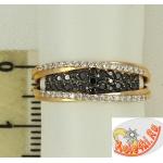 Кольцо из золота с черными фианитами