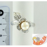 "Серебряное кольцо с жемчугом ""Цветок"""