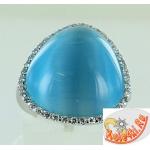 Серебряное кольцо с кошачьим глазом и цирконами