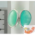 Серебряное кольцо с кошачьим глазом и синтетическим опалом