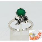 Серебряное кольцо с халцедоном и марказитами