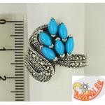 Серебряное кольцо с бирюзой и марказитами