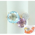 Золотое кольцо с топазом, аметистом и фианитами