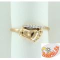 """Золотое кольцо с фианитами """"Ножка"""""""