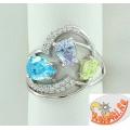 Серебряное кольцо с кварцем и фианитами