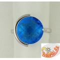Серебряное кольцо с голубым кварцема