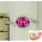 Кольцо из серебра с розовым топазом и фианитами