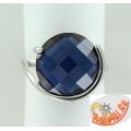 Серебряное кольцо с синтетическим сапфиром