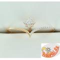 Двойное золотое кольцо с кристаллами Сваровски