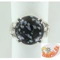 Серебряное кольцо с обсидианом