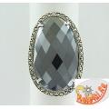 Серебряное кольцо с гематитом и марказитами