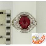 Серебряное кольцо с рубеллитом и фианитами