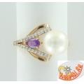 Золотое кольцо с жемчугом, аметистом и фианитами