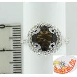 Серебряное кольцо с раухтопазом и цирконами