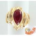 Золотое кольцо с синтетическим рубином