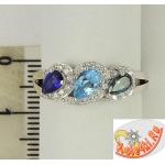 Серебряное кольцо с топазом, сапфиром, топазом Лондон и фианитами
