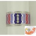 Широкое кольцо из серебра с эмалью