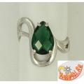 Серебряное кольцо с зеленым кварцем
