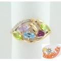 Золотое кольцо топазом, аметистом, хризолитами, родолитом и фианитами