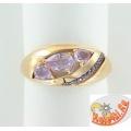 Золотое кольцо с аметистами и фианитами