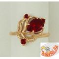 Кольцо из золоченого серебра с рубиновым корундом