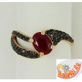 Серебряное кольцо с рубином и фианитами