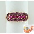 Серебряное кольцо с синтетическими рубинами