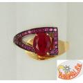 Золотое кольцо с рубином и фианитами