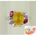 Серебряное кольцо с миксом камней