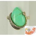 Кольцо с зеленой бирюзой
