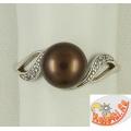 Серебряное кольцо с коричневым жемчугом