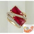 Золотое кольцо с рубинами и фианитами