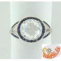 Серебряное кольцо с фианитом и искусственными сапфирами