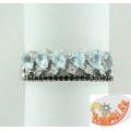 Серебряное кольцо с топазами и фианитами