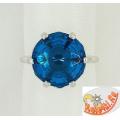Серебряное кольцо с синтетическим топазом