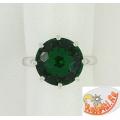 Серебряное кольцо с синтетическим изумрудом