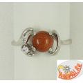 Кольцо из серебра с коричневым авантюрином