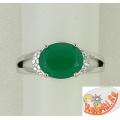 Кольцо из серебра 925 с зеленым агатом