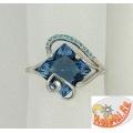 Серебряное кольцо с синтетическим топазом Лондон и фианитами