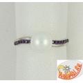 Серебряное кольцо с жемчугом и аметистами