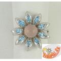 Серебряное кольцо с агатом и топазами