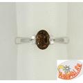 Серебряное кольцо с раухтопазом и фианитами