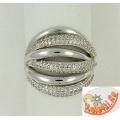 Многослойное кольцо из серебра с фианитами