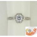 Серебряное кольцо с кристаллом Сваровски и фианитами