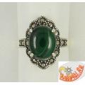 Серебряное кольцо с малахитом и марказитами