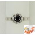 Серебряное кольцо с черным цирконом