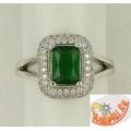 Кольцо из серебра с зеленым цирконом