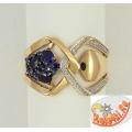 Золотое кольцо с сапфирами и фианитами