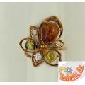 Позолоченое кольцо с янтарем