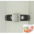 Кольцо из керамики с серебром и фианитами